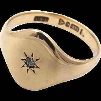 Antique 9ct Rose Gold  Diamond Set Signet Ring