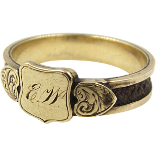 Antique 15ct Gold and Woven Hair Mourning Ring