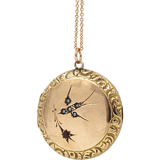 9ct Gold Back And Front Pearl Bird Locket Necklace
