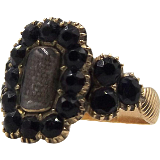 Antique Georgian 18ct Gold, French Jet & Woven Hair Mourning Ring, US size 7