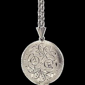 Large Vintage Sterling Silver Locket Necklace