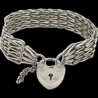 Sterling Silver Gate Bracelet With Heart Padlock