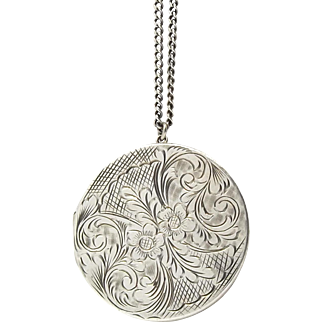 Large Round Sterling Silver Locket Necklace