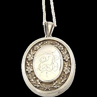 Large Antique Sterling Silver Locket Necklace