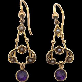 Edwardian 9ct Gold Amethyst & Seed Pearl Earrings