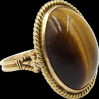 Vintage 9ct Gold Tiger's Eye Ring