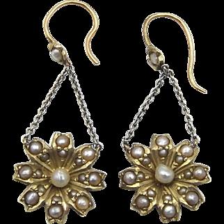 Edwardian 9ct Gold & Seed Pearl Earrings