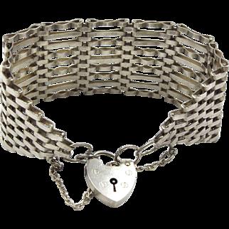 Wide Sterling Silver Gate Bracelet