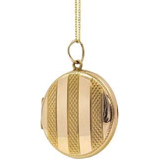 9k Rose And Yellow Gold Art Deco Round Striped Locket