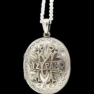 Large Victorian Sterling Silver Mizpah Locket