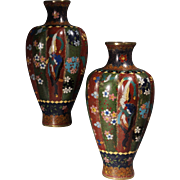 Pr, Chinese Cloisonne 19th century Lobed Vases, Qing Dynasty