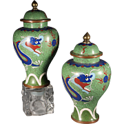 Pair of Chinese Early 20th century Cloisonne Dragon Covered Vases