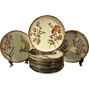 12 Antique Royal Worcester Blush Ivory Gilded Leaf Form Dinner Plates