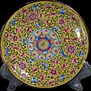 Chinese Antique Canton Enamel 18/19th c. Lotus Design Dish
