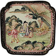 Fine Chinese Export Canton Enamel Tray 18/19th century