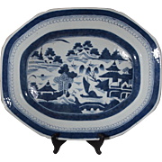Chinese Export Blue and White Canton Large Platter circa 1820