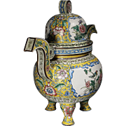 Republic Period Chinese Canton Enamel Large Censer