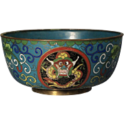 Antique Chinese Export Cloisonne Dragon Bowl