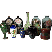 11 pieces of Chinese Antique Cloisonne Cabinet Vases