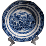 Important Chinese Export Blue and White Canton Hong Scene Bowl c.1790