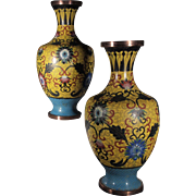 Pair of Chinese Early 20th century Cloisonne Vases