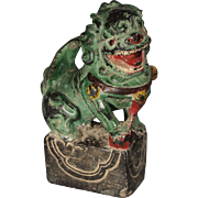 Chinese Very Old Heavy Stone Painted Foo Dog