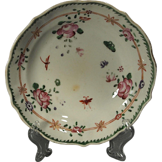 Chinese Export 18th c. Famille Rose Dragon Fly Berry Bowl