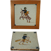 Two Dutch Delft 17/18th century Polychrome Tiles