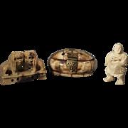 Chinese Bone Figure, Chinese Bone Trinket Box and Chinese Stone Foo Dogs