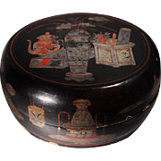 Chinese Qing Dynasty Black Lacquered Large Covered Box