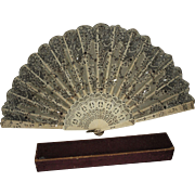 Beautiful Antique French Silk Lace and Bone Folding Fan in Original Box