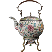 Important 18th Century Chinese Canton Enamel Teapot and Stand