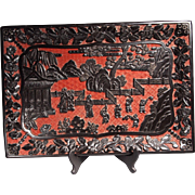 Fabulous Chinese 19th c. Cinnabar and Black Lacquer Tray