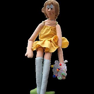 Long Legged Art Doll with Silver eye Shadow, Yellow Dress, Wrist Corsage, Yarn Hair