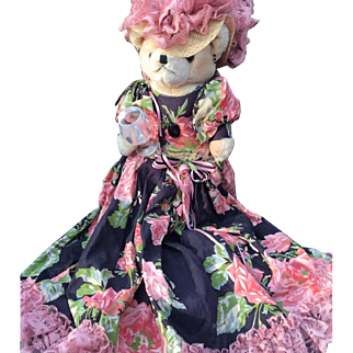 Teddy bear Doll With Wine Glass Floral Dress Hat On Stand Vintage