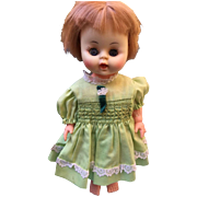 Sweet BABY DOLL little girl in green dress Sleep eyes drinks Elite