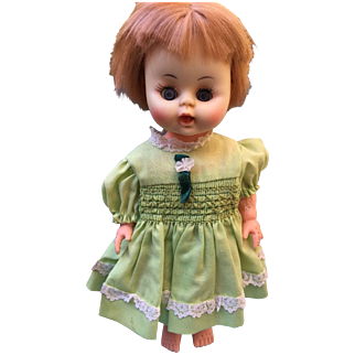 Sweet BABY DOLL little girl in green dress Sleep eyes drinks Elite