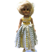 Vintage Doll hard Plastic Blonde Wig Crochet Dress