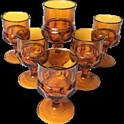 Vintage Midcentury Set of 6 Amber Glasses