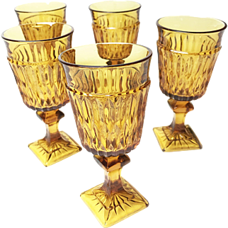 Vintage Mid Century Set of 5 Amber Indiana Glass Mt. Vernon Water Goblets