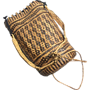 Vintage Traditional Borneo Rattan Hand Made Backpack / Purse.