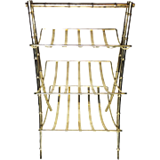 Vintage Midcentury Brass Three Tier Magazine Rack With Classic Bamboo Shaped Legs
