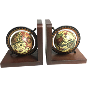 Vintage Midcentury Pair of Wooden Old World Globe Book Ends