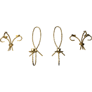 Vintage Mid Century Set of Four Twisted Gold Brass Wall Sconces