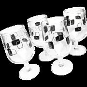 Vintage Midcentury Set of 4 Short Stem 16 OZ Goblets