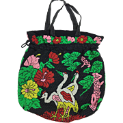 Vintage Midcentury Beaded Soft Drawstring Hobo Bag