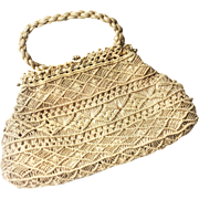 Vintage 1960s Beige Macrame Crochet Purse With Gold Closure.