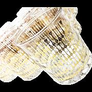 Midcentury Set of 8 Rocks Gold Leaf Culver Glasses