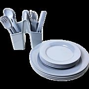 Vintage Set Of Blue Melamine Elan Dishes, Utensils, And Caddy