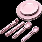 Vintage Set Of Pink Melamine Elan Dishes And Utensils